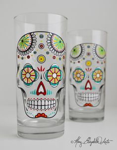 Sugar Skull Hand Painted Wine Glasses Día by MaryElizabethArts