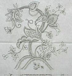 Vintage silver embroidery transfer - large jacobean motif