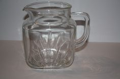 Small Square Vintage Clear Glass Juice Pitcher