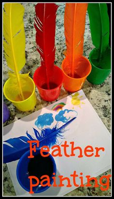 Painting with feathers! Kids will love it!