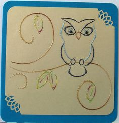 **FADENGRAFIK Glückwunschkarte / Grußkarte Eule 02**  Fadengrafik mit dem abgebildeten Motiv auf einer  **Doppelkarte mit Umschlag quadratisch 13,5 x 13,5 cm**  Karte in blau, Umschlag neutral...