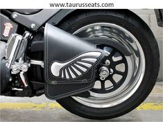 Custom Motorcycle Swing-arm Bag with Wing Inverted Applique made from Silver Chrome Leather, Hand-stitched Motorcycle Sidebag, Saddle Bag