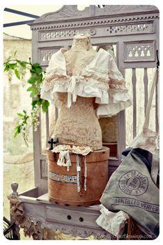 Vintage dress form, feed sack, hat box and pediment