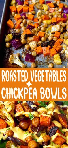 Eating Gluten Free Roasted veggies are like candy – you can't stop eating them! These Roasted Vegetables & Chickpea Bowls are drizzled with hummus dressing and are perfect for a light lunch. 284 calories and 6 Weight Watchers SP Clean Eating Vegetarian, Healthy Eating, Vegan Vegetarian, Eating Clean, Vegetarian Recipes With Chickpeas, Clean Eating Lunches, Clean Eating Sweets, Gluten Free Vegetarian Recipes, Vegan Clean