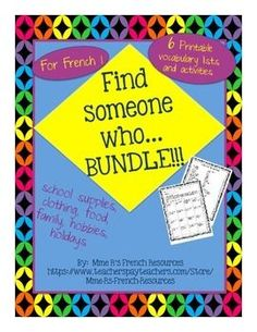 French Find someone who... BUNDLE for beginners is a great way to get your students speaking early and often.  Students will love the movement and fun of this activity and you will love to hear your students speaking!Printable vocabulary sheets for each activity included!Vocabulary used:* hobbies (common -er verbs)* clothing preferences* school supplies* food* family* holidaysDirections:The students move around the room asking classmates questions from the sheets.