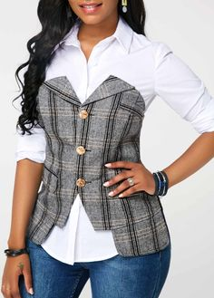 Button Up Corset and White Long Sleeve Shirt Trendy Outfits, Fashion Outfits, Womens Fashion, Fashion Tips, Fashion Ideas, Collar Shirts, Shirt Blouses, Plus Zise, White Long Sleeve