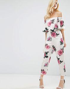 Image 1 ofASOS PETITE Ruffle Off Shoulder Peg Leg Jumpsuit in Oversized Floral Print