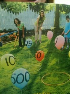 25 Awesome Outdoor Party Games for Kids of All Ages toss hula hoop over balloon game. Great outdoor party game for family reunions or backyard bbqs. Great for young kids learning to add, too Activity Games, Activities For Kids, Crafts For Kids, Field Day Activities, Field Day Games, Preschool Games, Physical Activities, Kids Party Games, Fun Games