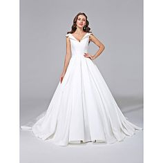 A-line+V-neck+Court+Train+Satin+Wedding+Dress+with+Button+by+LAN+TING+BRIDE®+–+USD+$+199.99