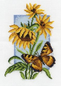 Cross stitch kit featuring flowers and a butterfly. This cross stitch kit contains presorted thread, 14 count white Aida Butterfly Cross Stitch, Cross Stitch Bird, Cross Stitch Flowers, Cross Stitch Charts, Cross Stitching, Cross Stitch Patterns, Cushion Embroidery, Cross Stitch Embroidery, Embroidery Patterns
