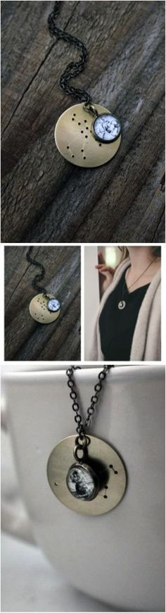 A beautiful constellation necklace to show off your zodiac sign. Personalized with your horoscope sign or the sign of someone you love.   Made on Hatch.co: https://www.hatch.co/products/21820-constellation-zodiac-necklace-with-star-chart-and-hevelius-atlas-charm#/