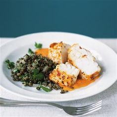 Paprika-roasted monkfish with romesco sauce