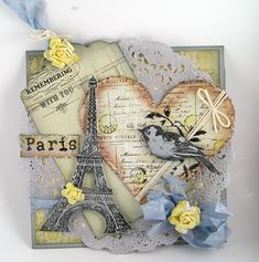 I love this tag for a card or a scrapbook page. Paris Cards, Shabby Chic Cards, Pintura Country, Beautiful Handmade Cards, Paris Theme, Bird Cards, Marianne Design, Card Tags, Cute Cards