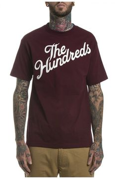 The Hundreds 'Forever Slant' Tee - BurgundyThe Forever Slant is a tried and true classic, so it's no wonder why they re-up'd on it for another season. Features The Hundreds screen printed across the front in white or black font, and a Solid Bomb logo at the top back.