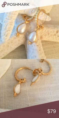 Pearl Lotus Hoop Earrings by Satya Pearl Lotus Hoop Earrings by Satya. Pearl symbolizes innocence, beauty, and foresight. Lotus symbolizes new beginnings and infinite potential. 18k gold plated over brass. New with tags. Satya Jewelry Jewelry Earrings