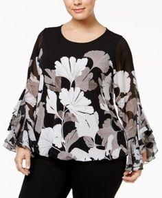Alfani Plus Size Ruffle-Sleeve Blouson Top, Only at Macy's - Gray 1X