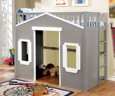 House Inspired Twin Loft Bed In Gray Finish | Play Loft Beds