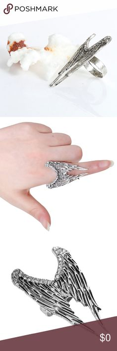 3 for $30 Silver Angel Wings Adjustable Ring Silver Plated & Rhinestone Angel Wings Adjustable Ring. Lead and nickel free. 3 for $30  Simply bundle with other items with this same note and make me a $30 offer to receive your discount. Feminine Edge Jewelry Rings
