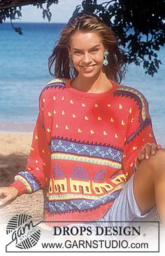 """DROPS 29-9 - DROPS jumper with house pattern in """"Paris"""". - Free pattern by DROPS Design"""