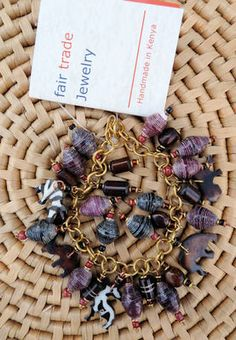 Paper bead and bone animals charm bracelet handmade in Kenya, Fair Trade $16.99