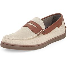 Cole Haan Nantucket Lizard-Embossed Penny Loafer ($79) ❤ liked on Polyvore featuring men's fashion, men's shoes, men's loafers, oyster gre, mens flat shoes, mens loafers shoes, mens slipon shoes, mens slip on shoes and mens suede shoes
