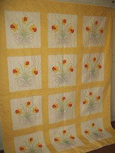 Antique Vintage 1950's appliqued quilt
