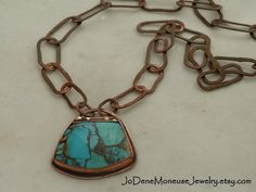 Kingman Turquoise with bronze veining, bezel set in copper with 14k gold filled accents on a hand built chunky copper chain $135.00  by JoDeneMoneuseJewelry