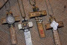 Brass Tags and Crosses Jewelry Crafts, Jewelry Art, Vintage Jewelry, Jewelry Necklaces, Cross Necklaces, Cross Jewelry, Cross Crafts, Key Crafts, Hardware Jewelry
