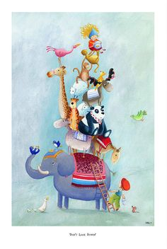 Children's Art - Signed, Limited Edition giclée print. - 'Don't Look Down' op Etsy, 42,46 €