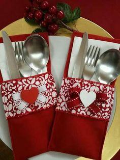 portaposate Natale, portaposate pannolenci rosso, segnaposto natalizio, decorazioni natalizie, Christmas home decor