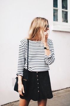 pinterest /// @poppyrainn Button Up Skirt Outfit, Skirt Outfits, Fall Outfits, Dress Skirt, Fashion Outfits, Striped Tee, Black Skirt Casual, Fashion Me Now, Passion For Fashion