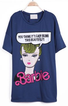 Blue Short Sleeve Girl Letters Print T-Shirt - Sheinside.com