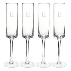 Cathys Concepts Personalized Contemporary Champagne Flutes Set of 4 Letter E ** Continue to the product at the image link.
