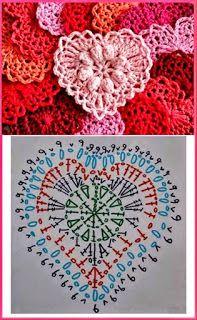 Crochet Heart Motif - Free Crochet Diagram - Then just add your…pretty crochet heart by Stoeps; i like the miniature flower budsDiscover thousands of images about pretty crochet heartPatrones Crochet Corazones San Valentin - Crochet and KnitDelicad Marque-pages Au Crochet, Crochet Mignon, Crochet Chart, Crochet Diagram, Thread Crochet, Crochet Doilies, Crochet Flowers, Crochet Stitches, Crochet Owls