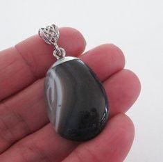 Black Lace Agate Pendant  Natural Flat Back Pendant  by BijiBijoux
