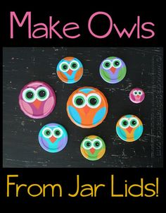 Hoo-Hoo is ready for one of the most adorable owl crafts for kids? Jar Lid Owls look difficult because they& so precious, but with the help of sponge applicators, kids can make these animal crafts easily. Owl Crafts, Cute Crafts, Crafts To Make, Easy Crafts, Arts And Crafts, Kids Crafts, Jar Lid Crafts, Mason Jar Crafts, Animal Crafts For Kids