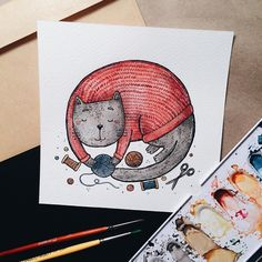 about the cat that has become a logo  . . #samoshkina_art #illustration #illustrations #dailyart #art #artist #art_we_inspire #art_spotlight #art_public #inspire #instaart #wearevsco #vscoart #vscocam #watercolors #watercolorart #aquarelle #cute #toppaint #topdraw #topcreator #globalart #topart #painteveryday #detail #soulart #artcitchen #eatsleepdraw #artbook
