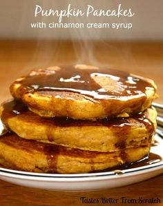 Pumpkin pancakes with cinnamon syrup. We love pumpkin pancakes in the fall, but I've never done cinnamon syrup.sounds yummy--MUST try! Breakfast Desayunos, Breakfast Dishes, Pumpkin Breakfast, Breakfast Recipes, Pumpkin Recipes, Fall Recipes, Cinnamon Recipes, Syrup Recipes, Cooking Pumpkin