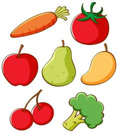 Set different fruits and vegetables Royalty Free Vector , Toddler Learning Activities, Montessori Activities, Book Activities, Teaching Kids, Preschool Printables, Preschool Crafts, Drawing For Kids, Art For Kids, Different Fruits And Vegetables
