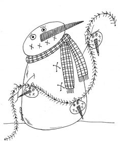 18 Free Christmas Embroidery Designs – Print and Stitch Ready to stitch something fun for the holidays? You'll find a bunch of free christmas embroidery designs. Ready to print and stitch. Applique Patterns, Craft Patterns, Embroidery Applique, Cross Stitch Embroidery, Machine Embroidery, Embroidery Designs, Snowman Patterns, Primitive Stitchery, Primitive Patterns