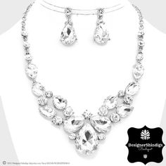 OS Rhinestone Silver and Clear Bridal Bib Necklace and Earrings Set by DESIGNERSHINDIGS on Etsy