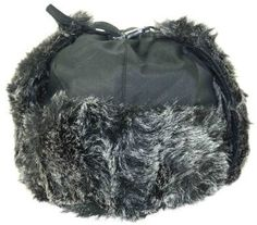 Black Weatherproof Warm Nylon Faux Fur Pilot Aviator Trooper Trapper Aviator Hat for Men and Women with Complete Inner Faux Fur Lining