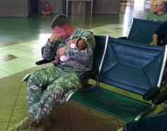 This dad is about to be deployed and is having to say goodbye to his newborn baby girl. Sacrifices like this are made every day and may we be reminded, that our freedom comes with a cost, and our soldiers and their families are paying it.   Thank you to all our American Soldiers.