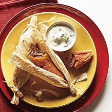 Pork Tamales with Cilantro-Lime Crema