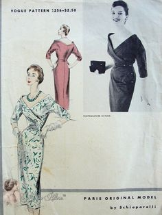 1950s RARE Schiaparelli Vogue Paris Original Model 1256 Vintage Sewing Pattern Stunning Surplice Bodice Low Wide V Neckline Slim Dress Perfect Cocktail Evening Dinner Dress Bust 32