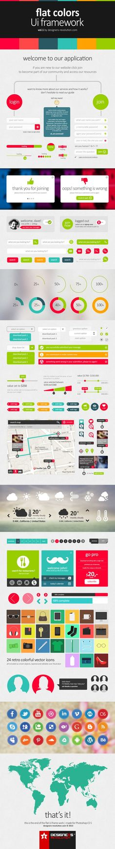Flat Colors UI Framework PSD by Designers Revolution, via Behance