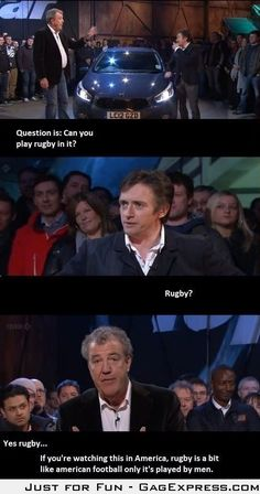 Funny pictures about Truth About Rugby. Oh, and cool pics about Truth About Rugby. Also, Truth About Rugby photos. Top Gear Funny, The Funny, Daily Funny, Rugby Memes, Rugby Funny, Top Gear Bbc, Jeremy Clarkson, British Humor, British Vs American Funny