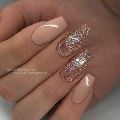 Awesome coffin nails are the hottest nails now. We collected of the most popular coffin nails. So, you don't have to spend too much energy. It's easy to find your favorite coffin nail design. Nude Nails With Glitter, Gold Acrylic Nails, Acrylic Nail Designs, Nail Art Designs, Nails Design, Nail Glitter Design, Rose Gold Nails, Glam Nails, Hot Nails