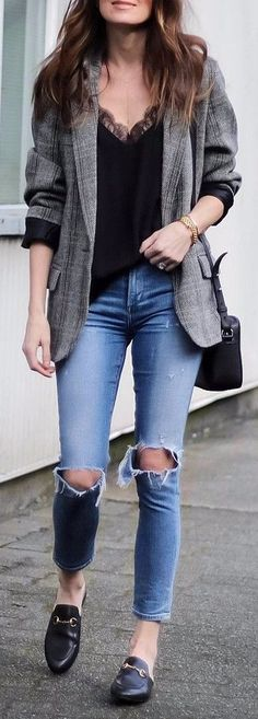 grey blazer + rips office outfit idea
