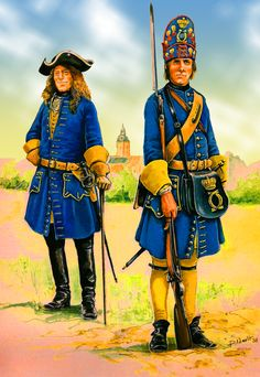 King Charles XII's Swedish grenadier and dragoon captain during the Great Northern War